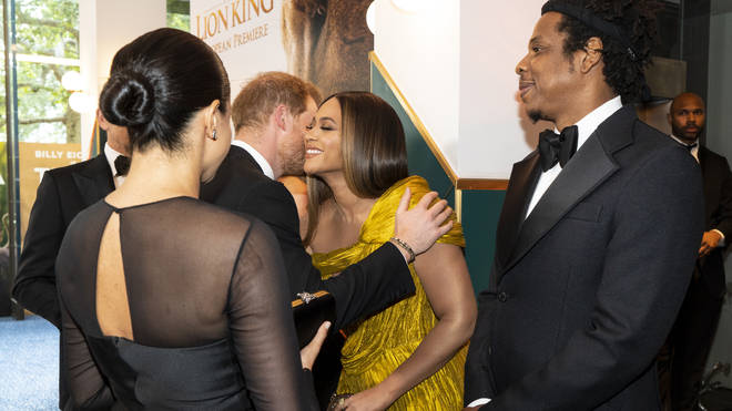 Prince Harry gives Beyoncé a kiss at The Lion King 2019 premiere