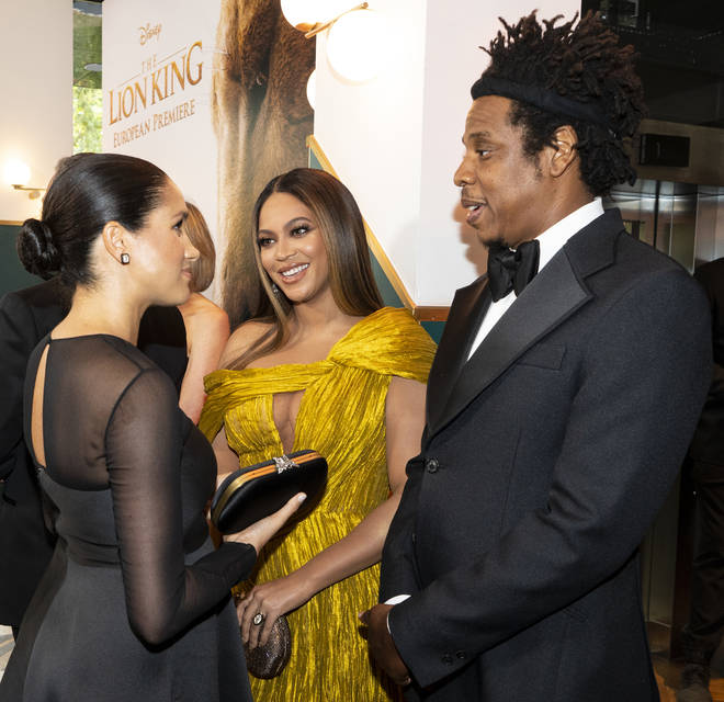 Meghan Markle speaks to Beyoncé and Jay Z at The Lion King 2019 premiere