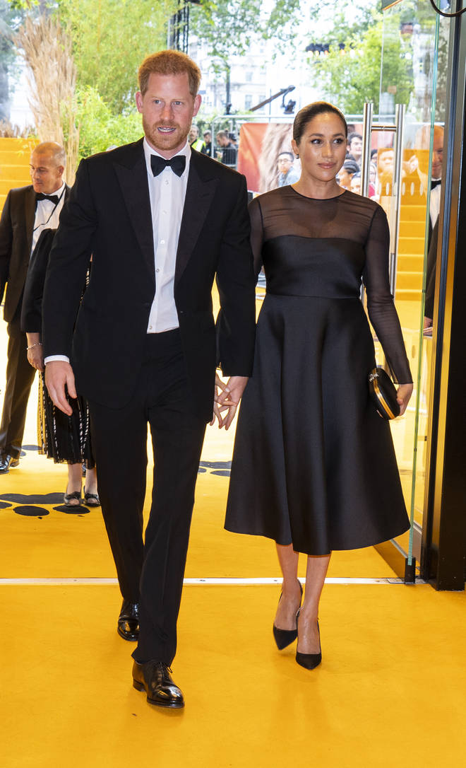 Prince Harry and Megan Markle arriving at The Lion King 2019 premiere in London