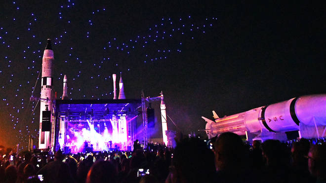 300 drones fly in formation over Duran Duran's Apollo 50 concert