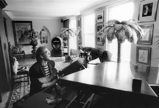 Elton John at his home in Windsor on June 4 1981 during filming for a videogram 'The Fox'