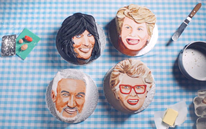 Noel Fielding, Sandi Toksvig, Paul Hollywood and Prue Leith as GBBO cakes