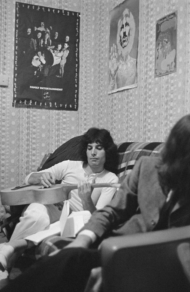 Freddie Mercury during an interview with the Daily Express at his Shepherds Bush flat, London, 1969