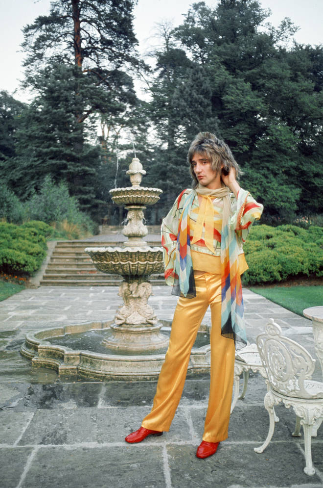 Rod Stewart in the garden of his home at Windsor, Berkshire, 15th August 1973