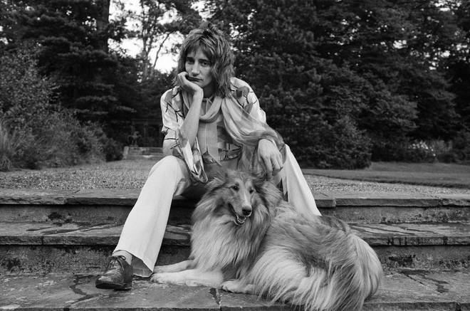 Rod Stewart pictured with his rough collie in the garden of his home at Windsor, Berkshire, 15th August 1973