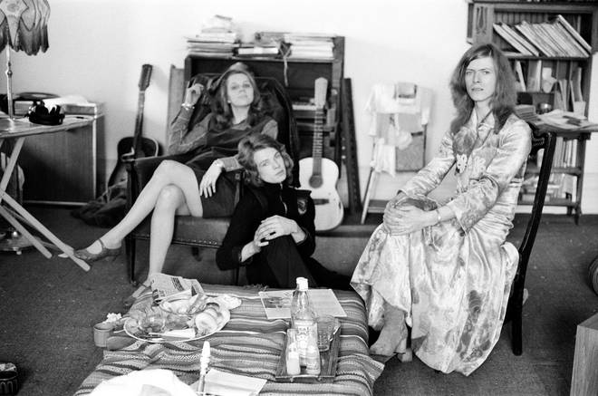 David Bowie and wife Angie, at home, Haddon Hall in Beckenham, Kent, 20th April 1971.