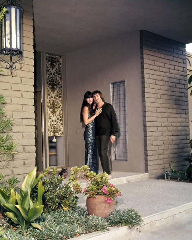 Sonny & Cher at the entrance to their house, in Encino, California, circa 1968