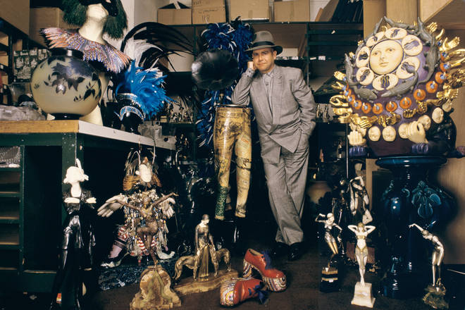 Elton John puts the contents of his home under auction at Sotheby's, London, 1988.