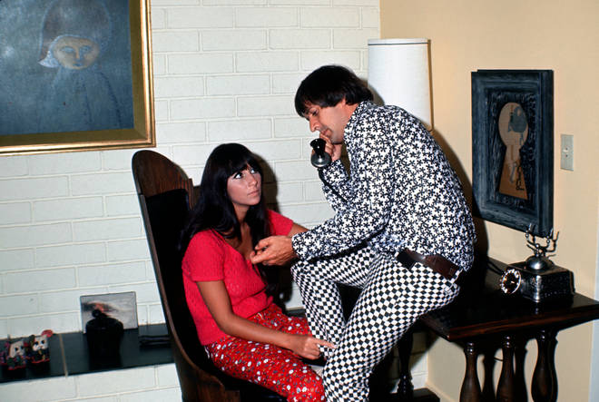 Sonny & Cher picture in their Encino, Los Angeles home in 1968.