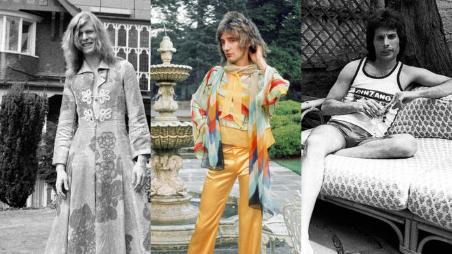 Behind the scenes: David Bowie, Rod Stewart and Freddie Mercury pictured at home.