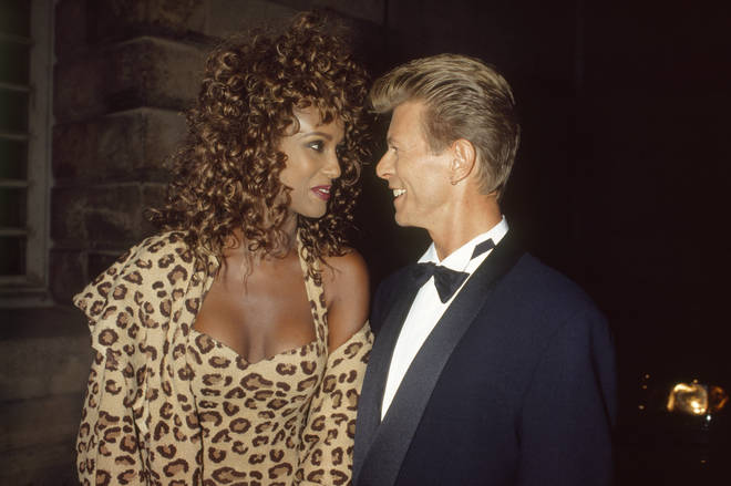 Supermodel Iman with husband David Bowie at a Bulgari gala at the Orangerie at the Chateau de Versailles in 1995