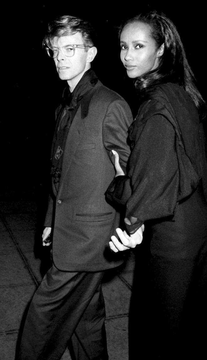 David Bowie and Iman attend Eduard Nakhamkin Fine Arts Gallery Exhibit Opening on November 27, 1990 in New York City.
