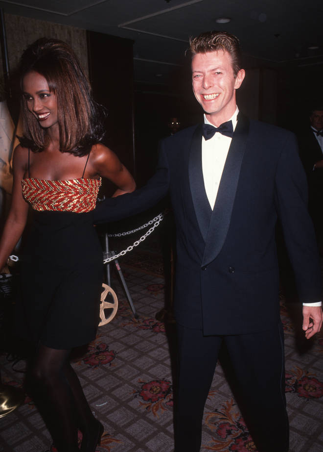 David Bowie and model Iman attend Sixth Annual American Cinematheque Awards on March 22, 1991 at the Century Plaza Hotel in Century City, California.