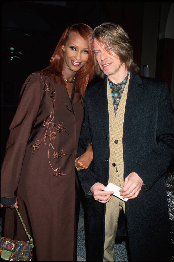 Model Iman and husband, David Bowie pictured in 2000