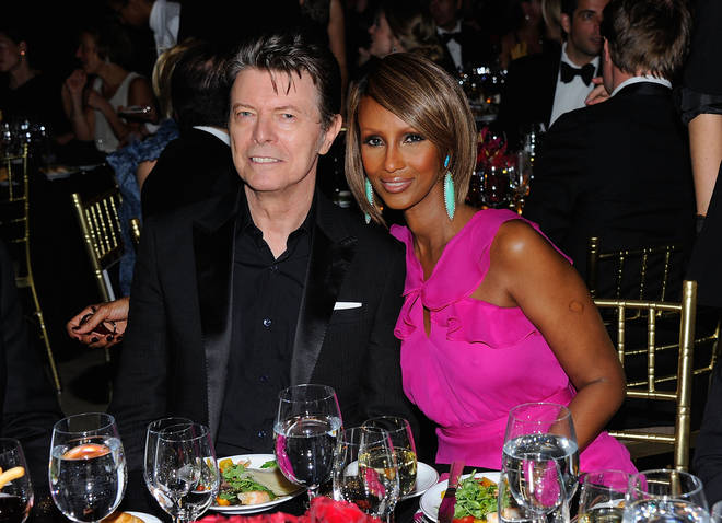 David Bowie and supermodel Iman attend the DKMS' 5th Annual Gala: Linked Against Leukemia honoring Rihanna & Michael Clinton hosted by Katharina Harf at Cipriani Wall Street on April 28, 2011 in New York City.