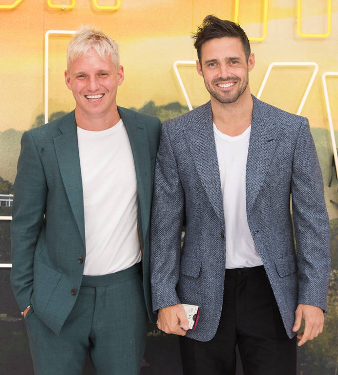 "Jamie Laing and Spencer Matthews attend the ""Once Upon a Time... in Hollywood""  UK Premiere at Odeon Luxe Leicester Square on July 30, 2019 in London"