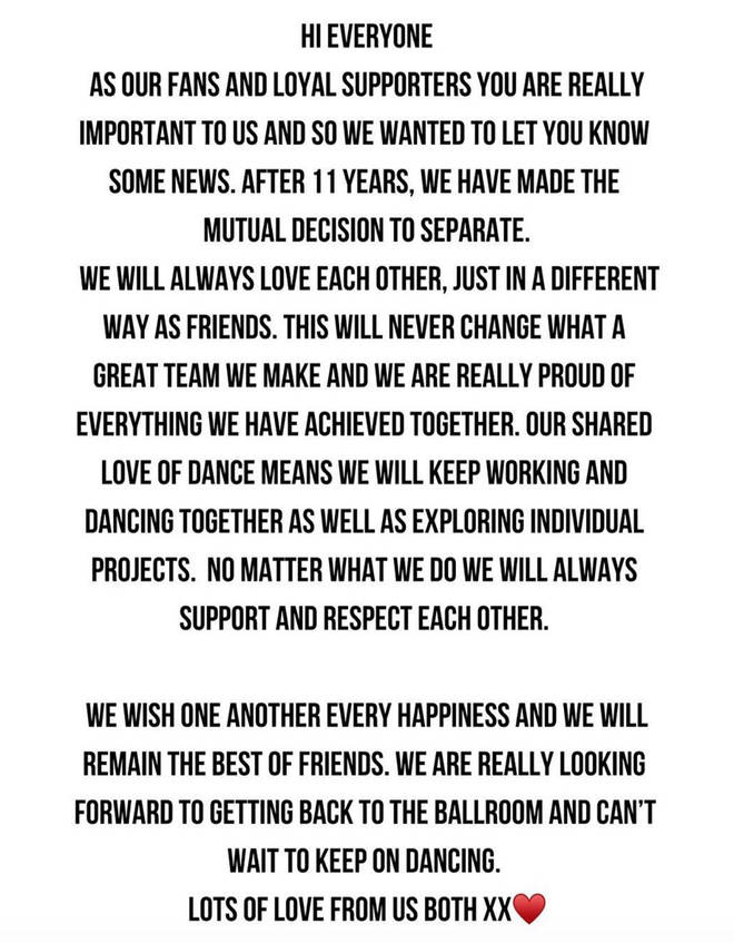 The joint statement released by Neil and Katya Jones