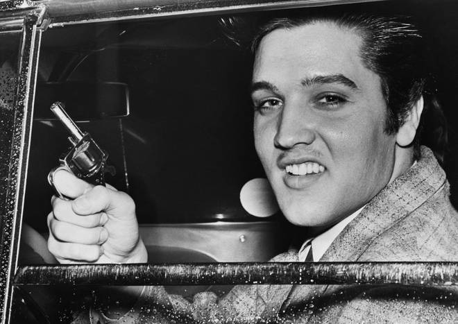 Elvis Presley holding a toy pistol, similar to the Agent King poster