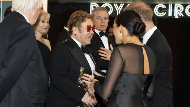 Elton meets Harry and Meghan at the Lion King premiere