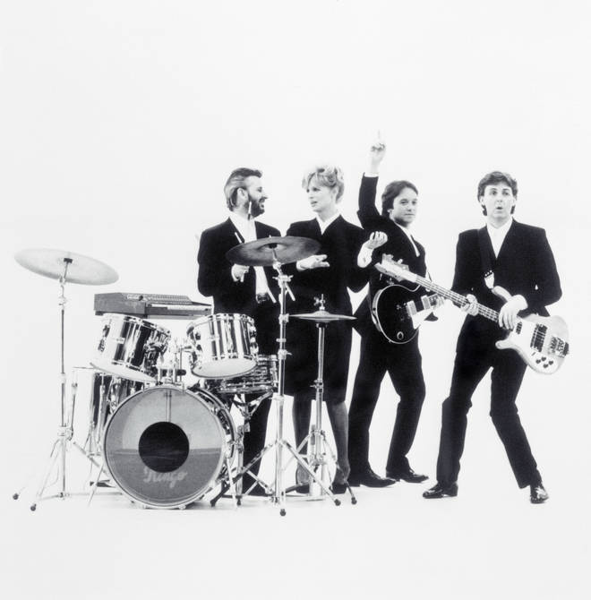 Ringo Starr, Linda, Eric Stewart and Paul McCartney filming a video for 'So Bad'