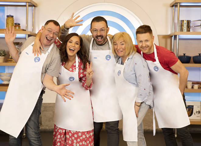 Judge Jules (centre) with his fellow Celebrity MasterChef 2019 contestants