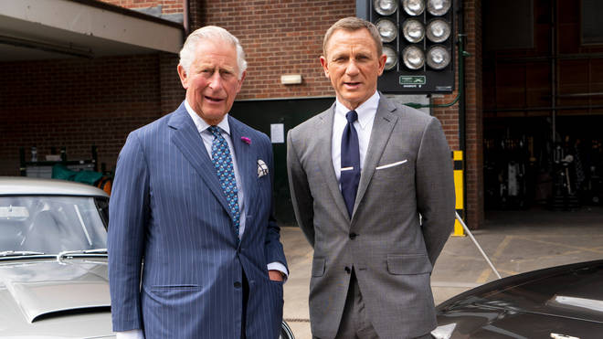 Prince Charles and Daniel Craig on the set of upcoming James Bond film No Time To Die