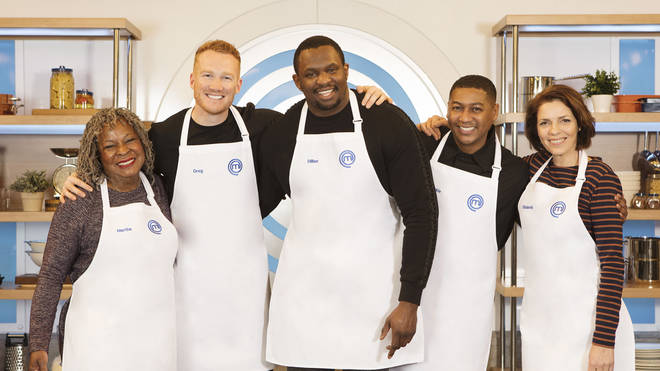 Rickie Haywood Williams (2nd right) with his fellow Celebrity MasterChef contestants