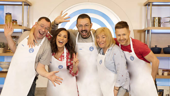 Kellie Maloney (2nd right) with fellow Celebrity MasterChef 2019 contestants