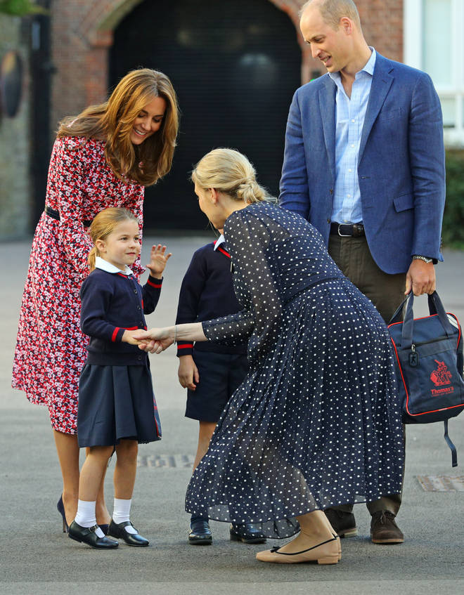 Princess Charlotte greeting the head of the lower school, Helen Haslem
