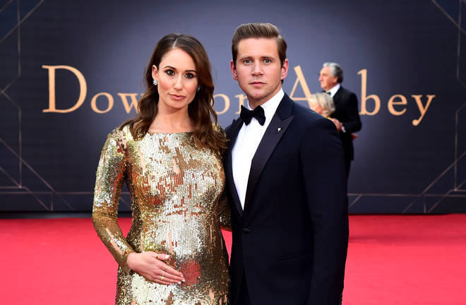 Downton Abbey's Allen Leech and wife Jessica Blair Herman reveal pregnancy at film premiere