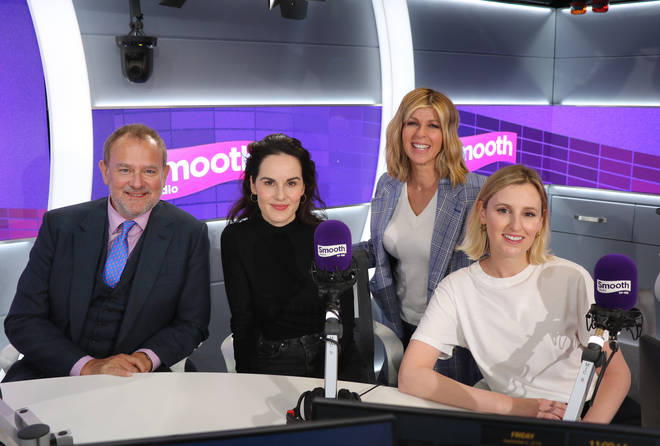 Downton Abbey cast: Kate Garraway with Hugh Bonneville, Michelle Dockery and Laura Carmichael
