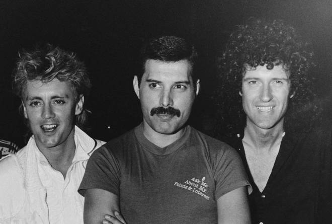 """""""Freddie...was almost always with people who could make him laugh,"""" Peter says. Pictured here with Roger Taylor and Brian May of Queen in Brazil, 1985."""
