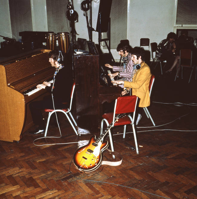 The Beatles recording at Abbey Road Studios