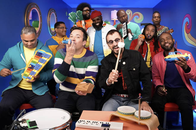 Ringo Starr plays 'Yellow Submarine' on classroom instruments with Jimmy Fallon and The Roots