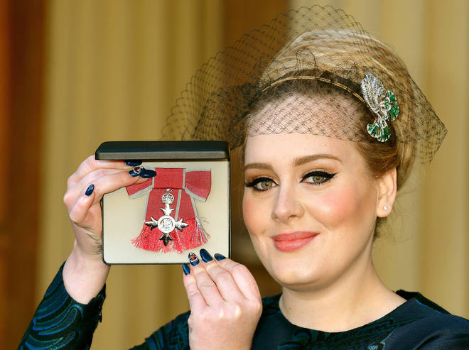 Adele with her MBE