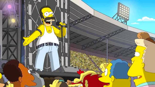 Freddie Mercury's Live Aid performance with Queen has been recreated by The Simpsons