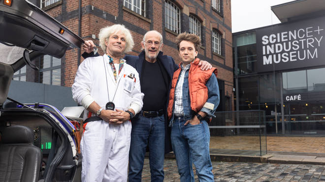 Roger Bart and Olly Dobson with Christopher Lloyd