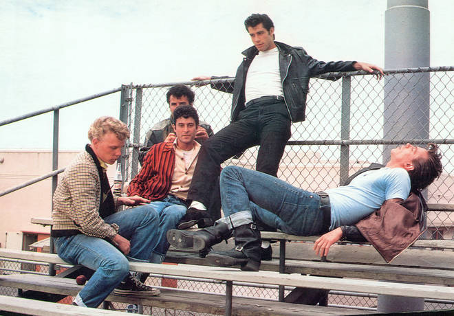 John Travolta as Danny in Grease along with the T-Birds