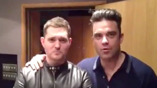 Michael Bublé and Robbie Williams together while recording 'Soda Pop'