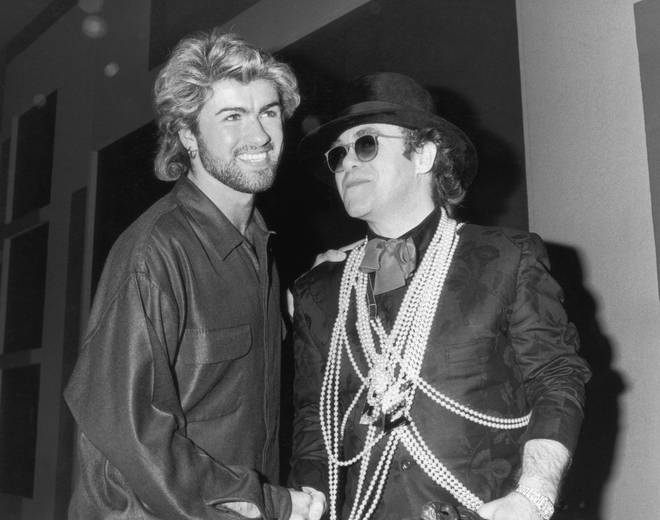 Close friends George Michael and Elton John