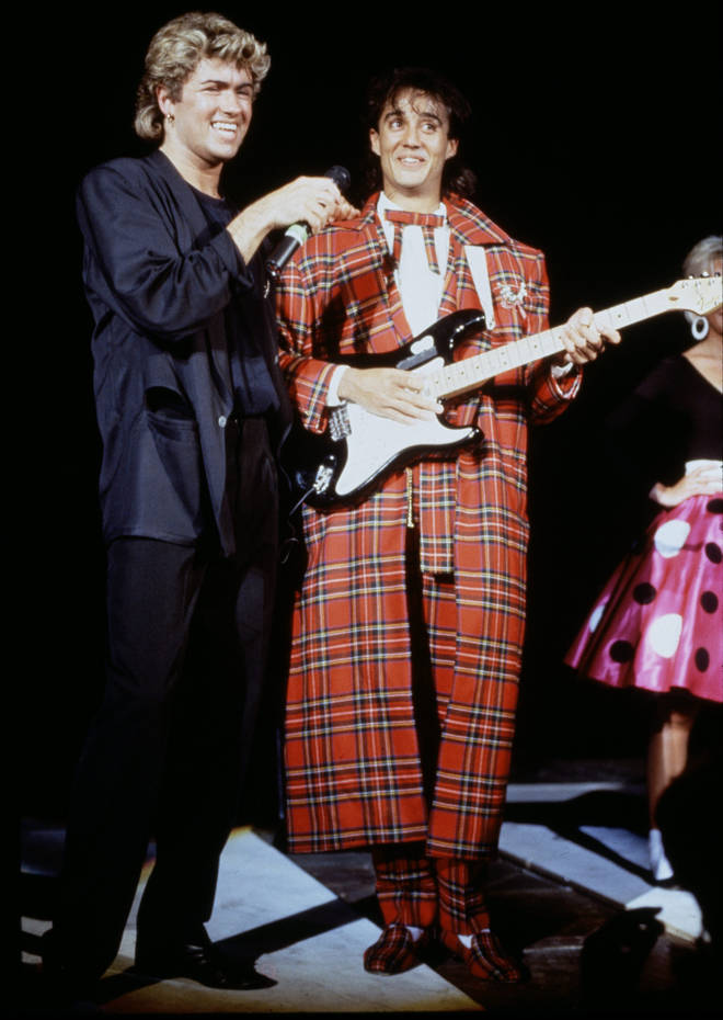 Andrew Ridgeley and George Michael performing during the pop duo's 1985 world tour, January 1985.