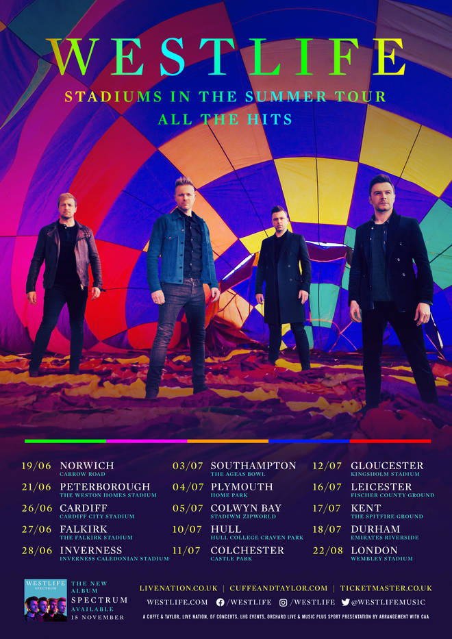 Westlife's 'Stadiums in the Summer' 2020 UK tour dates