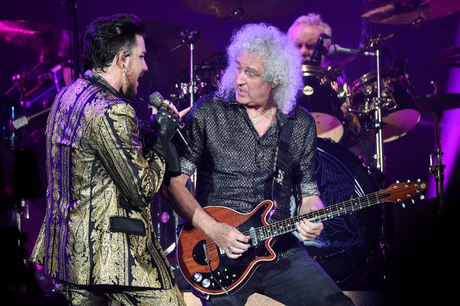 Adam Lambert and Brian May perform onstage during the 2019 Global Citizen Festival: Power The Movement in Central Park on September 28, 2019