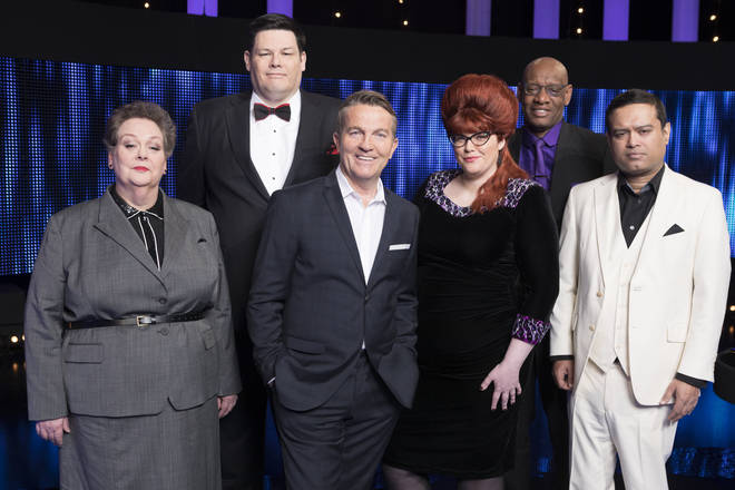 Jenny Ryan alongside Bradley Walsh and her co-stars on The Chase