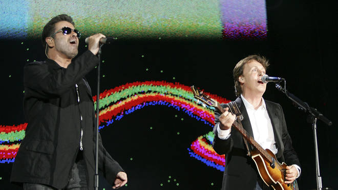 George Michael and Paul McCartney in 2005 at Live 8