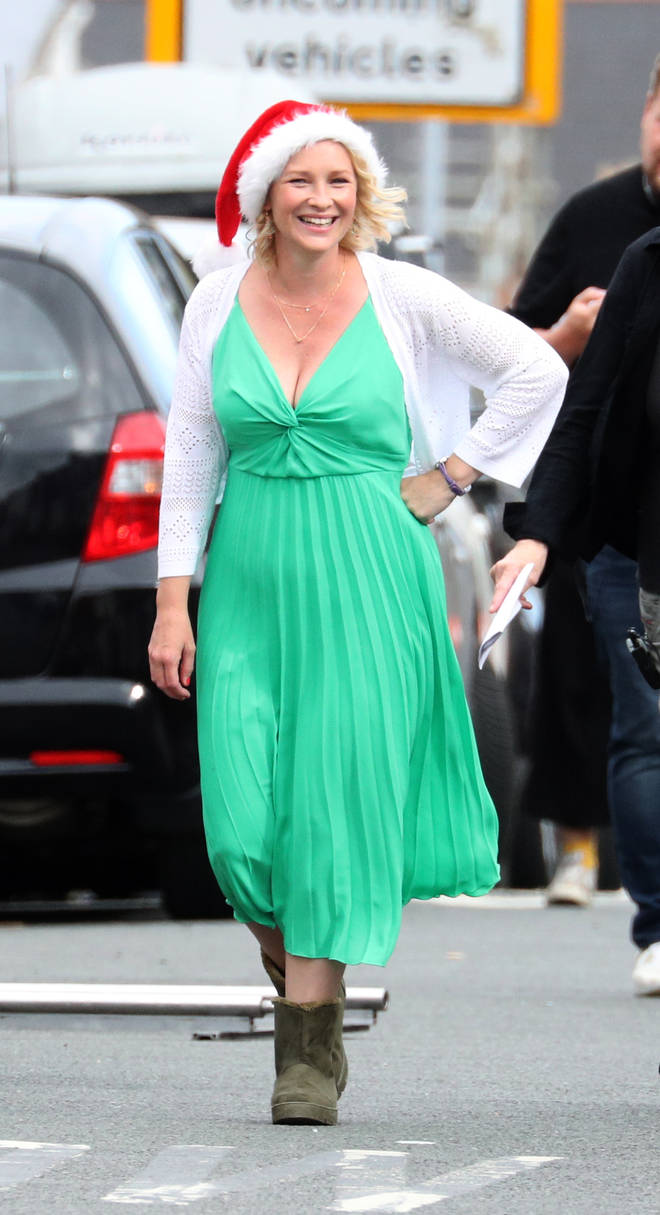 Joanna Page during filming for the Gavin and Stacey Christmas special at Barry in the Vale of Glamorgan, Wales